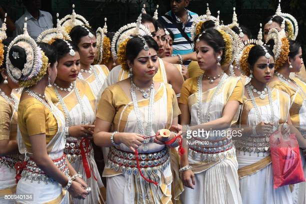 Odissi dancer wait to perfrom on the last day of the week long Rathyatra celebration of Lode Jagannath's Rath Yatra on July 032107 in KolkataIndia