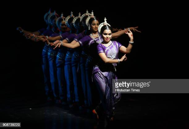 Odissi dancers perform during the SNA Awardees Festival at Meghdoot Sangeet Natak Akademi Rabindra Bhawan on January 19 2018 in New Delhi India