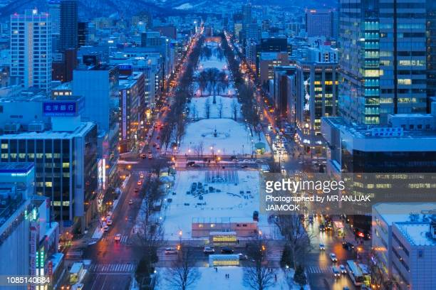 odori park in winter, sapporo, japan - sapporo stock pictures, royalty-free photos & images