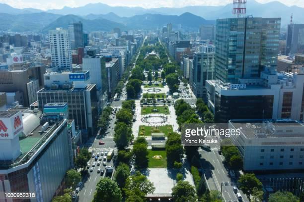 odori park, sapporo, hokkaido, japan - sapporo stockfoto's en -beelden