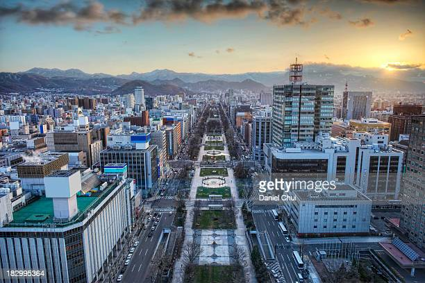 odori park sunset - sapporo stock pictures, royalty-free photos & images