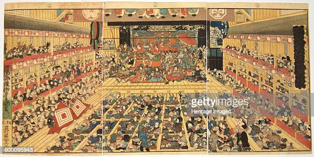 Theatre interior with Shibaraku performance 1858 Private Collection Artist Kunisada Utagawa