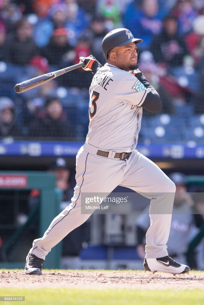 Odrisamer Despaigne #43 of the Miami Marlins hits a single in the top of the seventh inning against the Philadelphia Phillies at Citizens Bank Park on April 8, 2018 in Philadelphia, Pennsylvania. The Marlins defeated the Phillies 6-3.