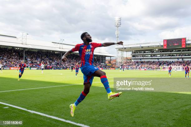 Odsonne Édouard of Crystal Palace celebrate after scoring the second goal during the Premier League match between Crystal Palace and Tottenham...
