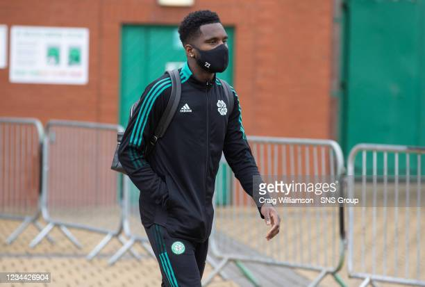 Odsonne Edouard is pictured as Celtic depart for their Europa League tie against Jablonec, at Celtic Park, on August 03 in Glasgow, Scotland.