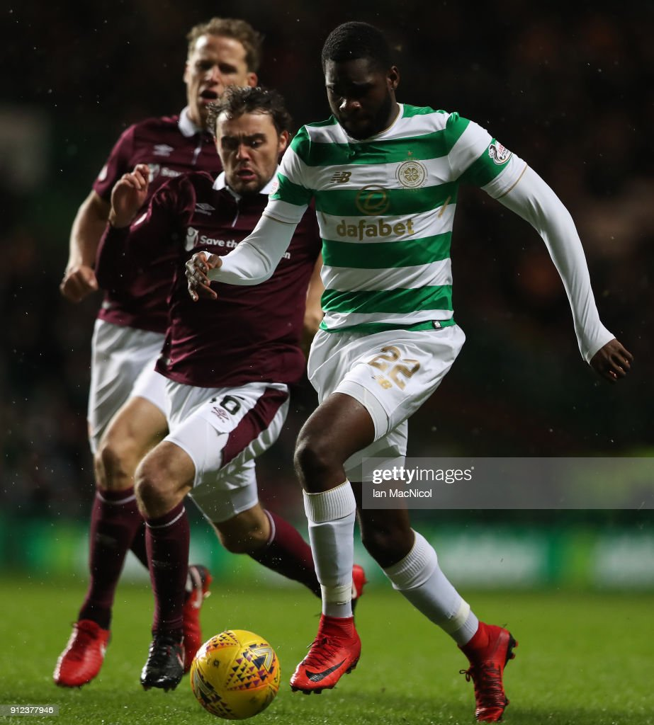 Odsonne Edouard of Celtic breaks through to score the opening goal during the Scottish Premier League match between Celtic and Heart of Midlothian at Celtic Park on January 30, 2018 in Glasgow, Scotland.