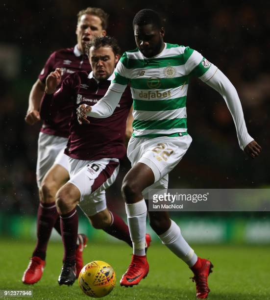 Odsonne Edouard of Celtic breaks through to score the opening goal during the Scottish Premier League match between Celtic and Heart of Midlothian at...