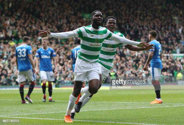Odsonne Edouard of Celtic celebrates after he open's the scoring scores during the Scottish Premier League match between Celtic and Rangers at Celtic...