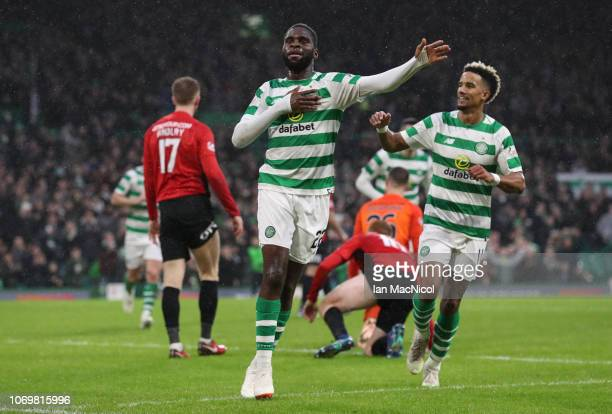 Odsonne Edouard of Celtic celebrates after he scores his team's second goal during the Scottish Ladbrokes Premiership match Celtic and Kilmarnock at...