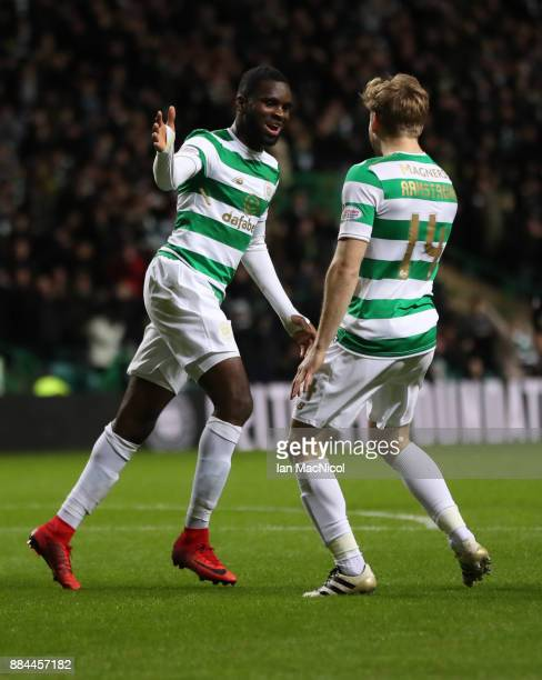 Odsonne Edouard of Celtic celebrates after he scores his third goal to complete a hattrick during the Ladbrokes Scottish Premiership match between...