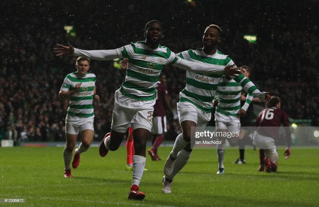 Odsonne Edouard of Celtic celebrates after he scores the opening goal during the Scottish Premier League match between Celtic and Heart of Midlothian at Celtic Park on January 30, 2018 in Glasgow, Scotland.
