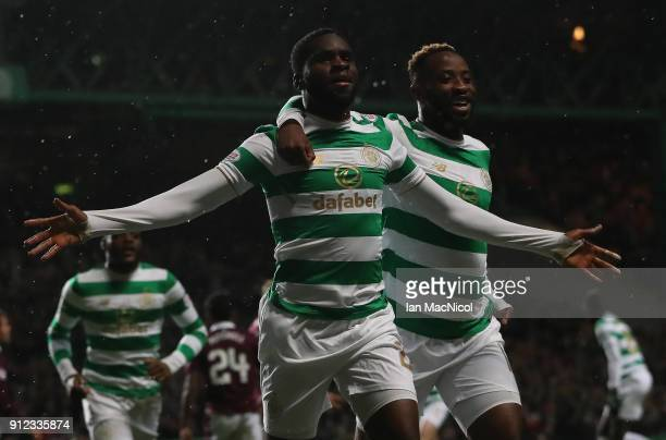 Odsonne Edouard of Celtic celebrates after he scores the opening goal during the Scottish Premier League match between Celtic and Heart of Midlothian...