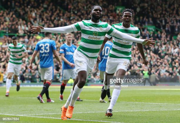 Odsonne Edouard of Celtic celebrates after scoring his sides first goal with Dedryck Boyata of Celtic during the Scottish Premier League match...