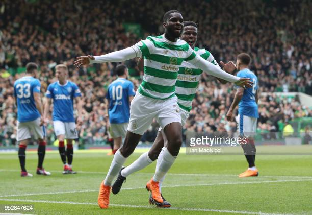 Odsonne Edouard of Celtic celebrates after scoring his sides first goal during the Scottish Premier League match between Celtic and Rangers at Celtic...