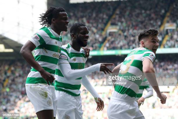 Odsonne Edouard of Celtic celebrates after scoring his sides first goal with Dedryck Boyata of Celtic and Kieran Tierney of Celtic during the...