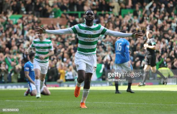 Odsonne Edouard of Celtic celebrates after scoring his sides second goal during the Scottish Premier League match between Celtic and Rangers at...