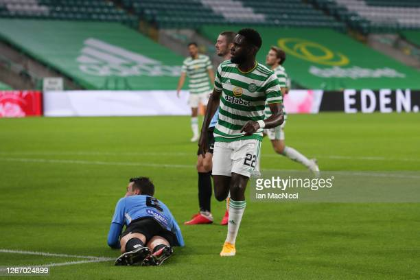 Odsonne Edouard of Celtic celebrates after scoring his team's fifth goal during the UEFA Champions League: First Qualifying Round match between...