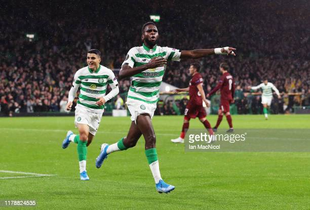 Odsonne Edouard of Celtic celebrates after scoring his team's first goal during the UEFA Europa League group E match between Celtic FC and CFR Cluj...