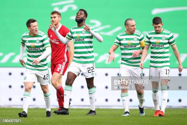 Odsonne Edouard of Celtic celebrates after scoring his team's first goal during the Ladbrokes Scottish Premiership match between Celtic and Aberdeen...