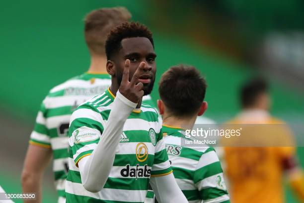 Odsonne Edouard of Celtic celebrates after scoring his team's second goal during the Ladbrokes Scottish Premiership match between Celtic and...