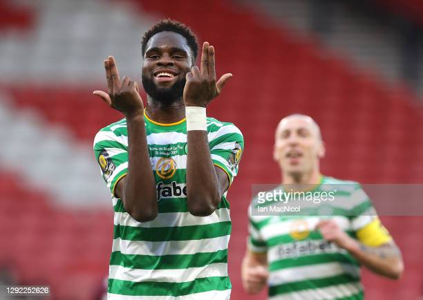 Odsonne Edouard of Celtic celebrates after scoring their sides second goal during the William Hill Scottish Cup final match between Celtic and Heart...