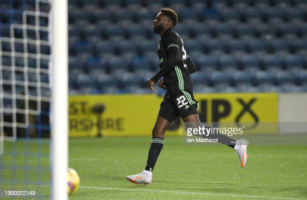 Odsonne Edouard of Celtic celebrates after scoring their side's third goal during the Ladbrokes Scottish Premiership match between Kilmarnock and...