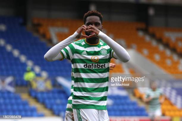 Odsonne Edouard of Celtic celebrates after scoring their team's first goal during the Ladbrokes Scottish Premiership match between St. Johnstone and...