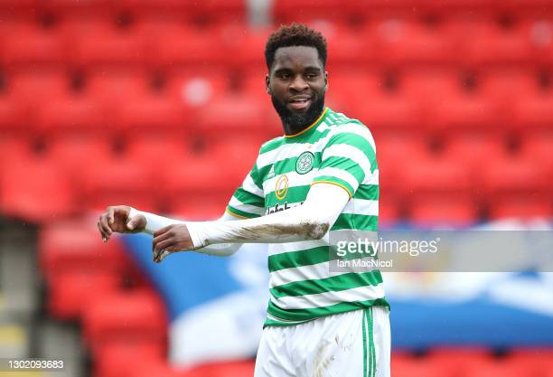 Odsonne Edouard of Celtic celebrates after scoring their team's second goal during the Ladbrokes Scottish Premiership match between St. Johnstone and...