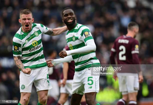 Odsonne Edouard of Celtic celebrates Scoring his first goal of the game with team mate Jonny Hayes during the Scottish Cup Final between Heart of...