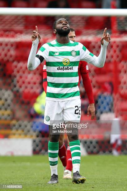 Odsonne Edouard of Celtic celebrates scoring his sides third goal during the Ladbrokes Scottish Premiership match between Aberdeen and Celtic at...