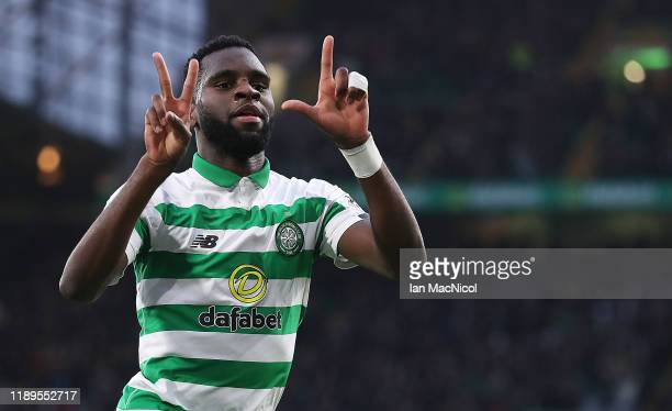 Odsonne Edouard of Celtic celebrates scoring the opening goal during the Ladbrokes Premiership match between Celtic and Livingston at Celtic Park on...