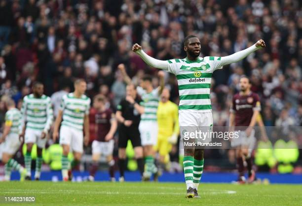 Odsonne Edouard of Celtic celebrates the Celtic victory at the final whistle during the Scottish Cup Final between Heart of Midlothian FC and Celtic...