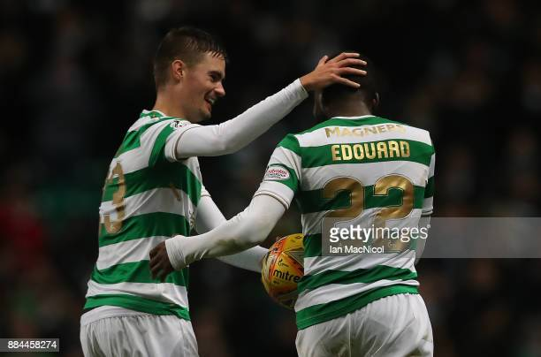Odsonne Edouard of Celtic celebrates with Mikael Lustig after he scores his third goal to complete a hattrick during the Ladbrokes Scottish...