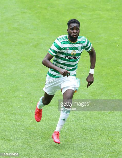 Odsonne Edouard of Celtic controls the ball during the pre season friendly match between Celtic and Ross County at Celtic Park on July 26, 2020 in...