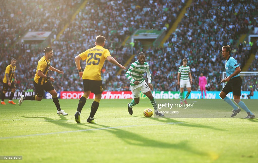Odsonne Edouard of Celtic controls the ball during the UEFA Champions League Qualifiing match between Celtic and AEK Athens at Celtic Park Stadium on August 8, 2018 in Glasgow, Scotland.