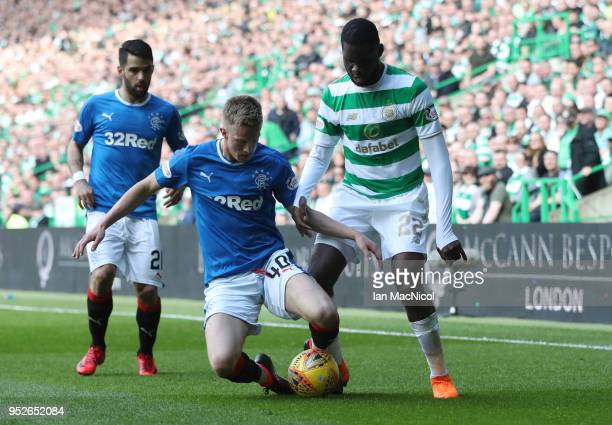 Odsonne Edouard of Celtic is challenged by Ross McCrorie of Rangers during the Scottish Premier League match between Celtic and Rangers at Celtic...