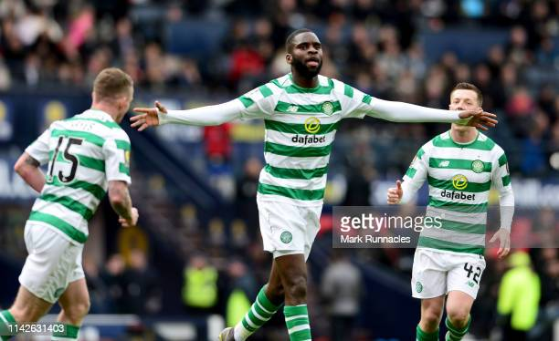 Odsonne Edouard of Celtic is congratulated after scoring from the penalty spot during the Scottish Cup semi-final between Aberdeen and Celtic at...