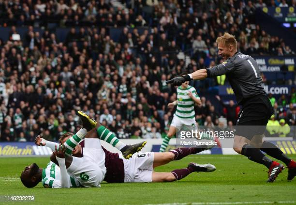 Odsonne Edouard of Celtic is fouled resulting in a penalty to Celtic during the Scottish Cup Final between Heart of Midlothian FC and Celtic FC at...