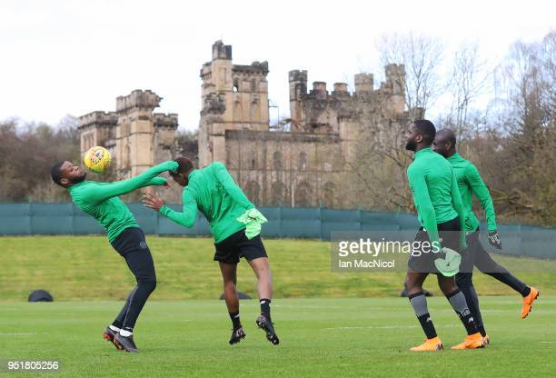 Odsonne Edouard of Celtic is seen during a training session at Lennoxtown Training Centre on April 27 2018 in Glasgow Scotland