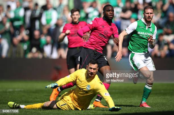 Odsonne Edouard of Celtic looks on after he scores during the Ladbrokes Scottish Premiership match between Hibernian and Celtic at Easter Road on...