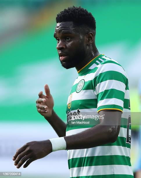 Odsonne Edouard of Celtic reacts during the UEFA Champions League: First Qualifying Round match between Celtic and KR Reykjavik at Celtic Park on...