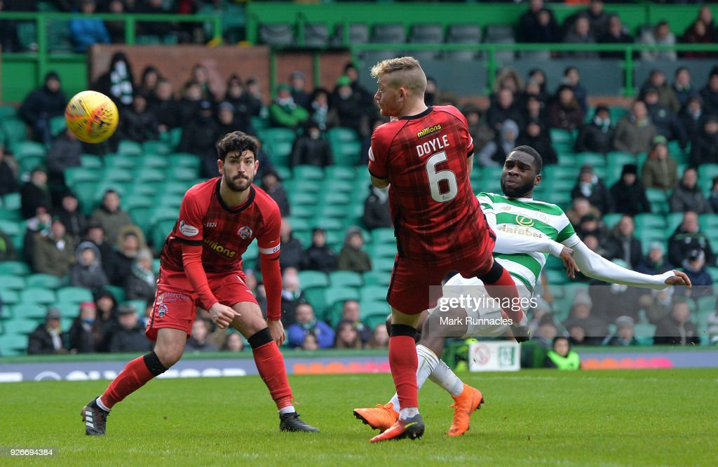 Odsonne Edouard of Celtic scores a goal late in the game to make it 3-0 to Celtic during the Scottish Cup Quarter Final match between Celtic and Greenock Morton at Celtic Park on March 3, 2018 in Glasgow, Scotland.