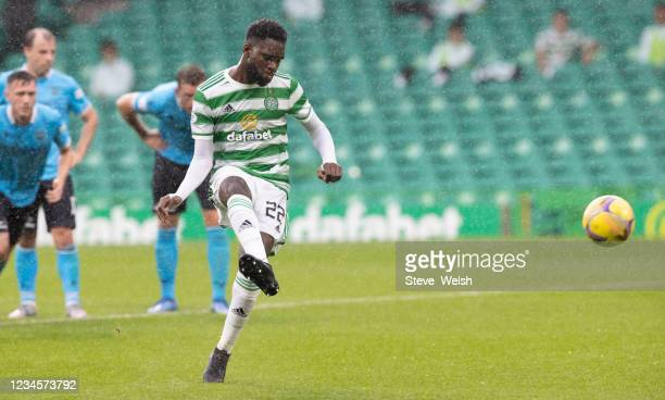 Odsonne Edouard of Celtic scores Celtics 5th goal from the penalty spot during the Cinch Scottish Premiership match between Celtic FC and Dundee FC...