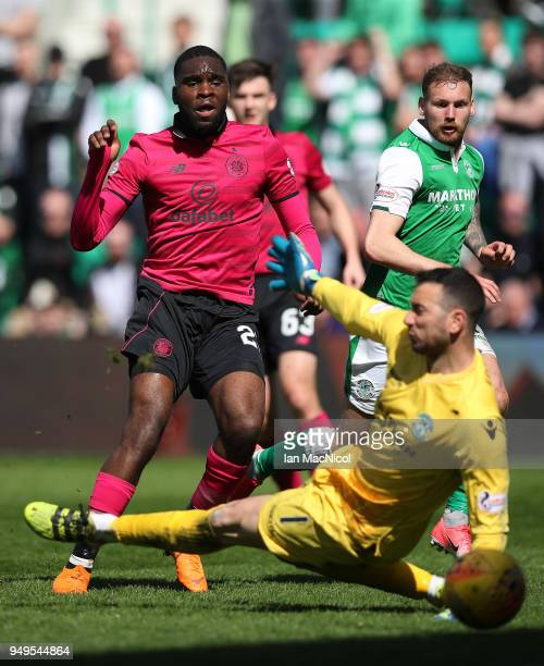 Odsonne Edouard of Celtic scores during the Ladbrokes Scottish Premiership match between Hibernian and Celtic at Easter Road on April 21 2018 in...