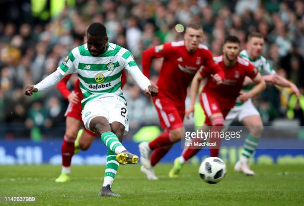Odsonne Edouard of Celtic scores from the penalty spot during the Scottish Cup semifinal between Aberdeen and Celtic at Hampden Park on April 14 2019...