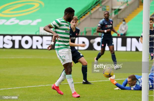 Odsonne Edouard of Celtic scores his sides first goal during the Ladbrokes Premiership match between Celtic and Hamilton Academical at Celtic Park...