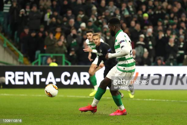 Odsonne Edouard of Celtic scores his sides first goal from the penalty spot during the UEFA Europa League round of 32 second leg match between Celtic...
