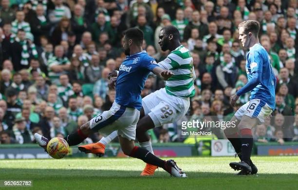 Odsonne Edouard of Celtic scores his sides second goal during the Scottish Premier League match between Celtic and Rangers at Celtic Park on April...