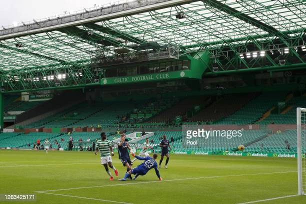 Odsonne Edouard of Celtic scores his sides third goal during the Ladbrokes Premiership match between Celtic and Hamilton Academical at Celtic Park...