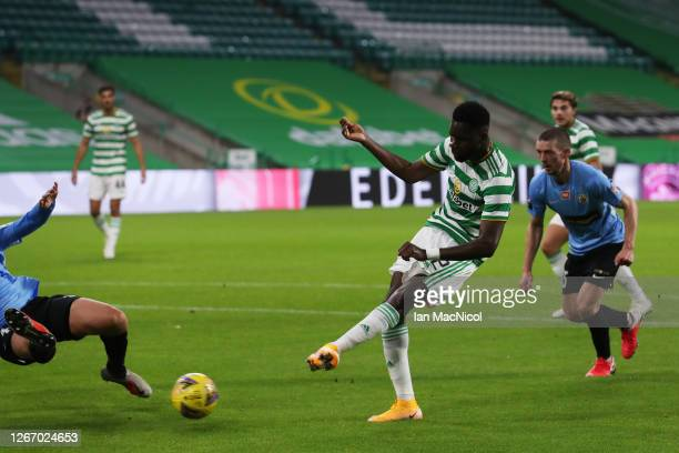 Odsonne Edouard of Celtic scores his team's fifth goal during the UEFA Champions League: First Qualifying Round match between Celtic and KR Reykjavik...
